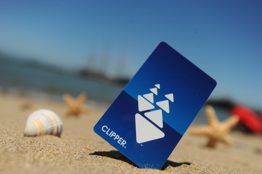 Close-up of a Clipper card standing in beach sand